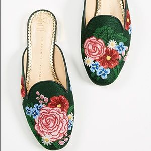 Charlotte Olympia Rose Garden embroidered mules